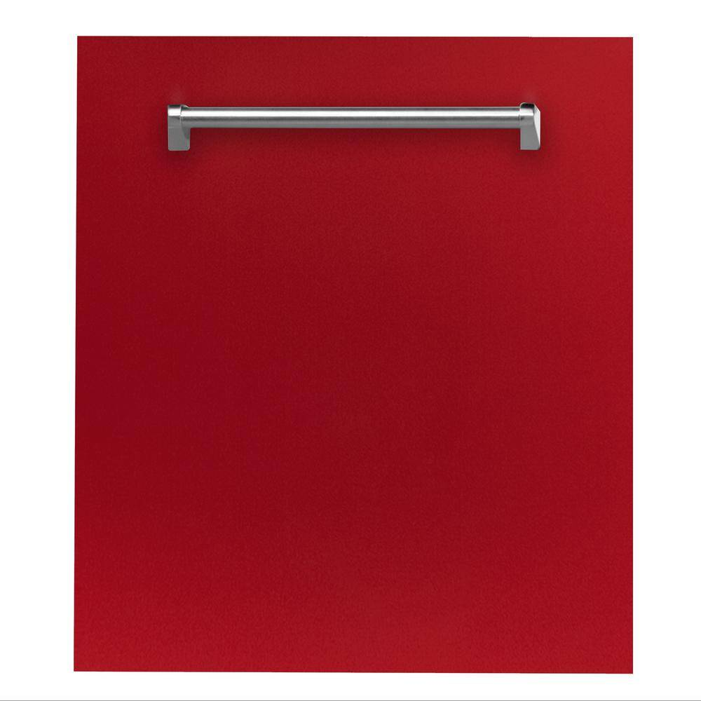 ZLINE Kitchen and Bath 24 in. Top Control Dishwasher in Red Gloss with Stainless Steel Tub and Traditional Style Handle, ENERGY STAR