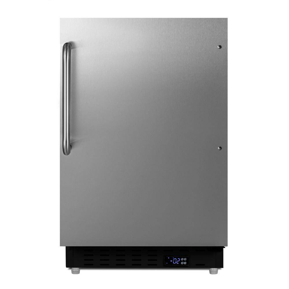 Summit Appliance 2.68 cu. ft. Manual Defrost Upright Freezer in Stainless Steel, ADA Compliant, Black / Stainless Steel