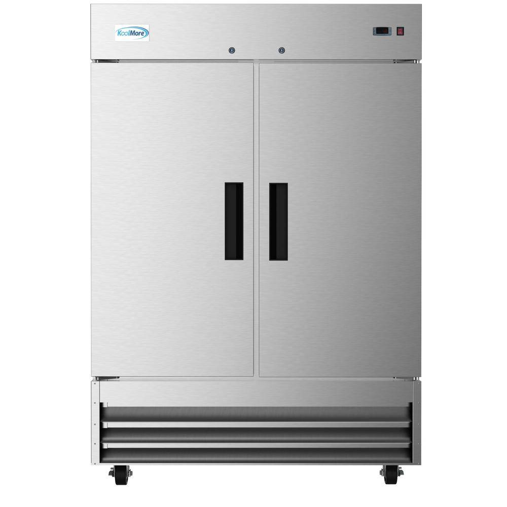 KoolMore 47 cu. ft. Commercial Double Door Reach in Upright Freezer in Stainless Steel, Silver