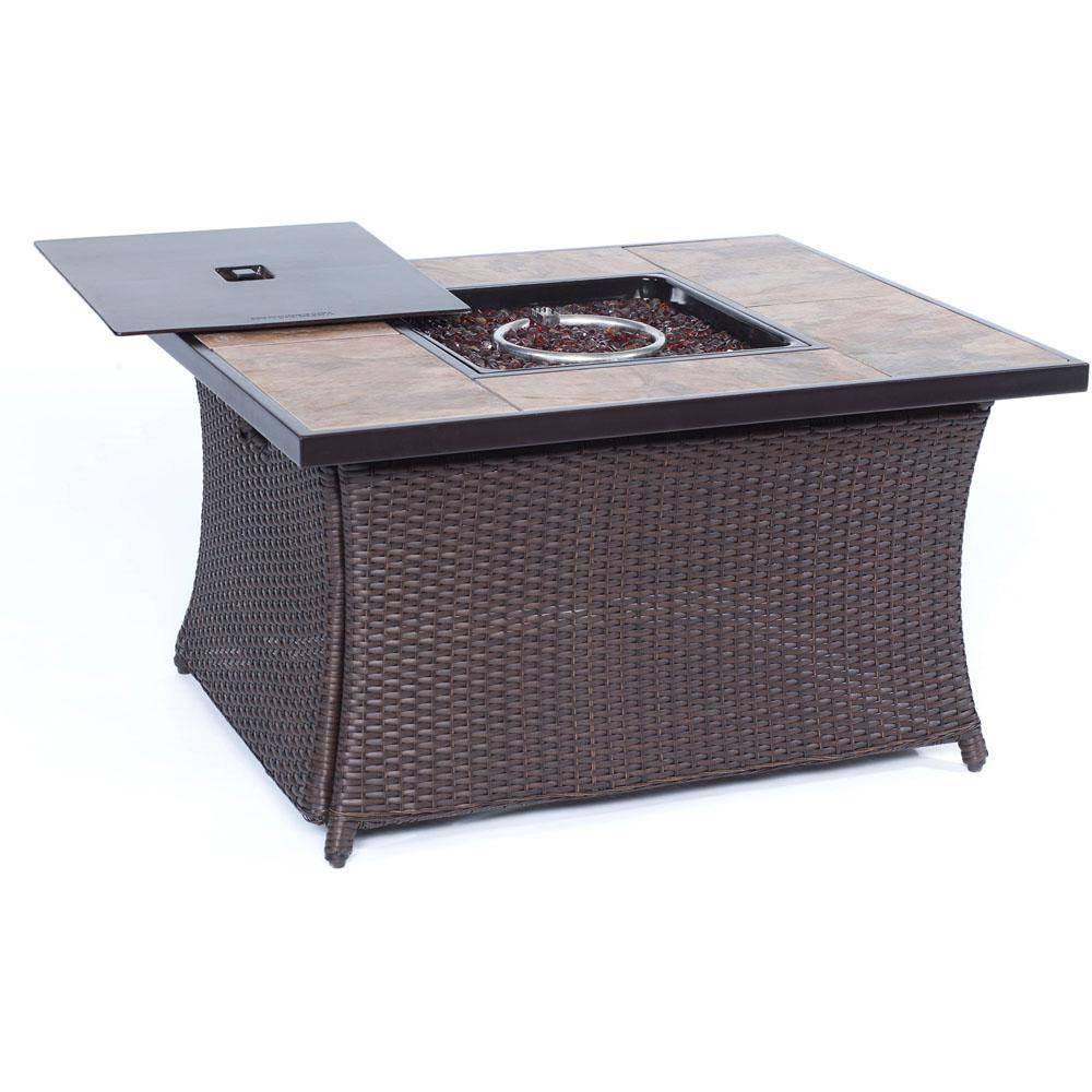 Cambridge 36 in. 40,000 BTU Woven Fire Pit Coffee Table with Porcelain Tile Top, Brown/Porcelain Tile Top