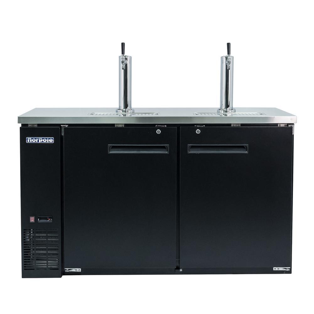 Norpole 61 in. 16 cu. ft. 2 Door Direct Draw Beer kegerator Dispenser with Double Tap in Black