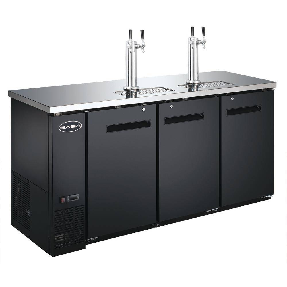 SABA Three 1/2 Barrel Beer Keg Dispenser Refrigerator Cooler with 2 Double Tap Towers, Black/Stainless Steel