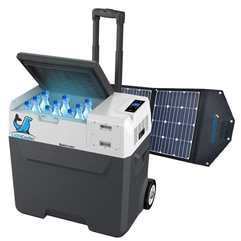LiONCooler 52 Qt Battery Powered Portable Chest Fridge Freezer w/10+ Hour Run Time, Recharge Using Solar/DC/AC (with Solar Panel), Gray/Black