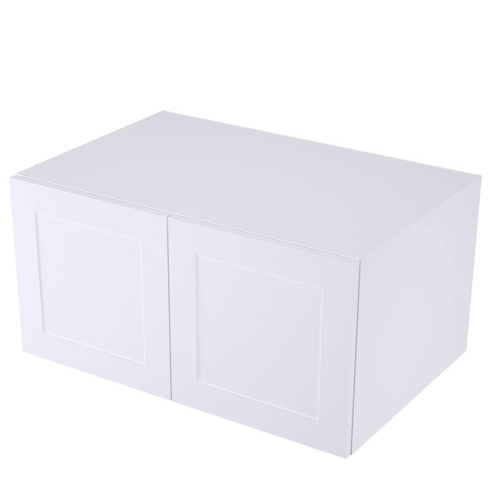 Cambridge Threespine Ready to Assemble 36 in. x 18 in. x 24 in. Stock Above the Fridge Kitchen Cabinet in Shaker White Wood