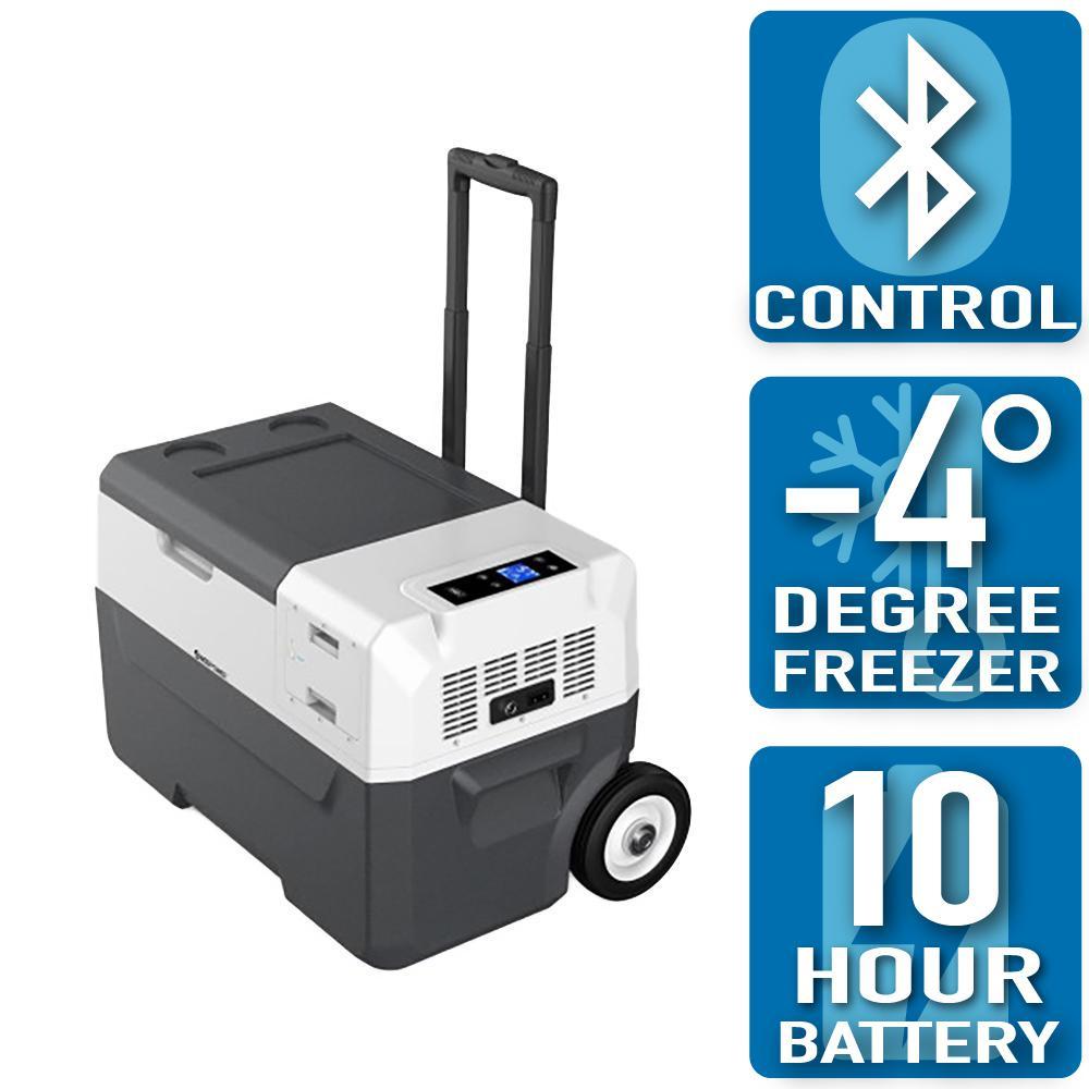ACOPower LiONCooler 32 Qt. Battery Powered Portable Chest Fridge Freezer Cooler w/10+ Hour Run Time, Recharge Using Solar/DC/AC, Gray/Black