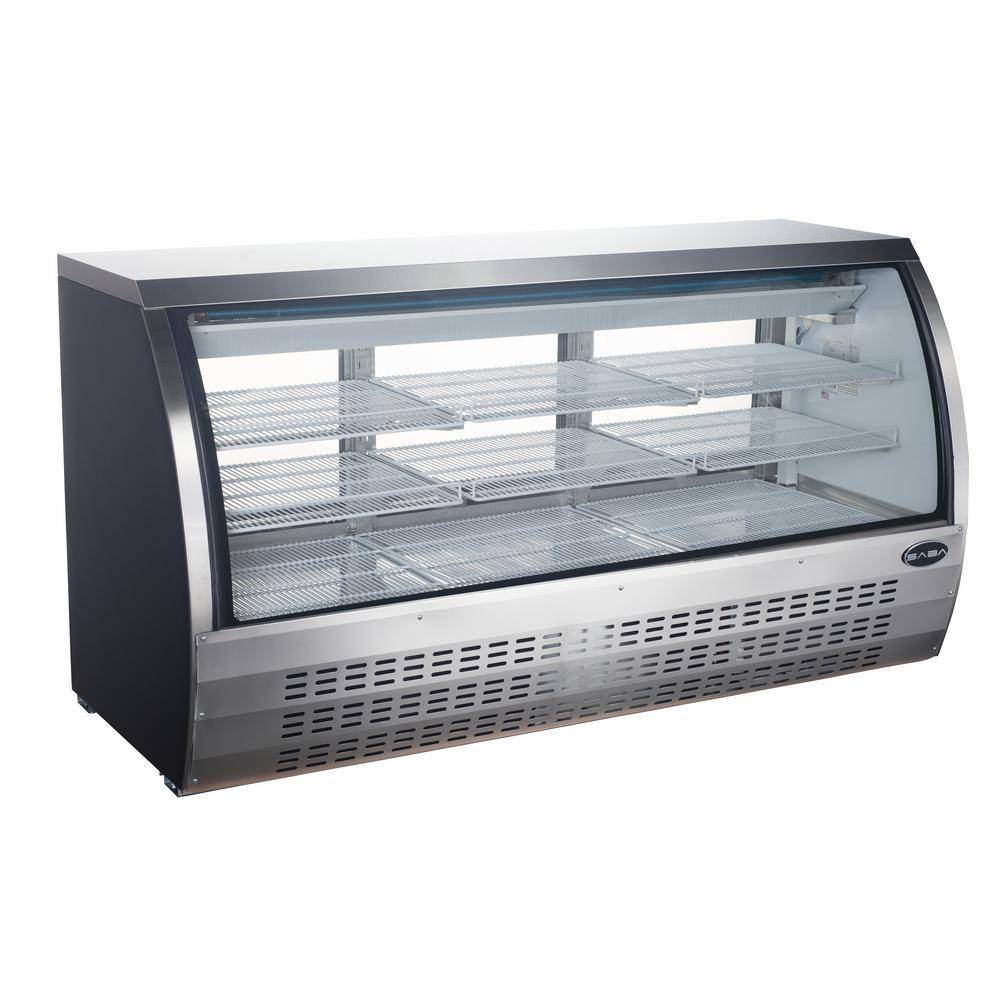 SABA 82 in. W 32 cu. ft. Commercial Refrigerator Deli Case, Display Case in Glass/Stainless Steel, Silver