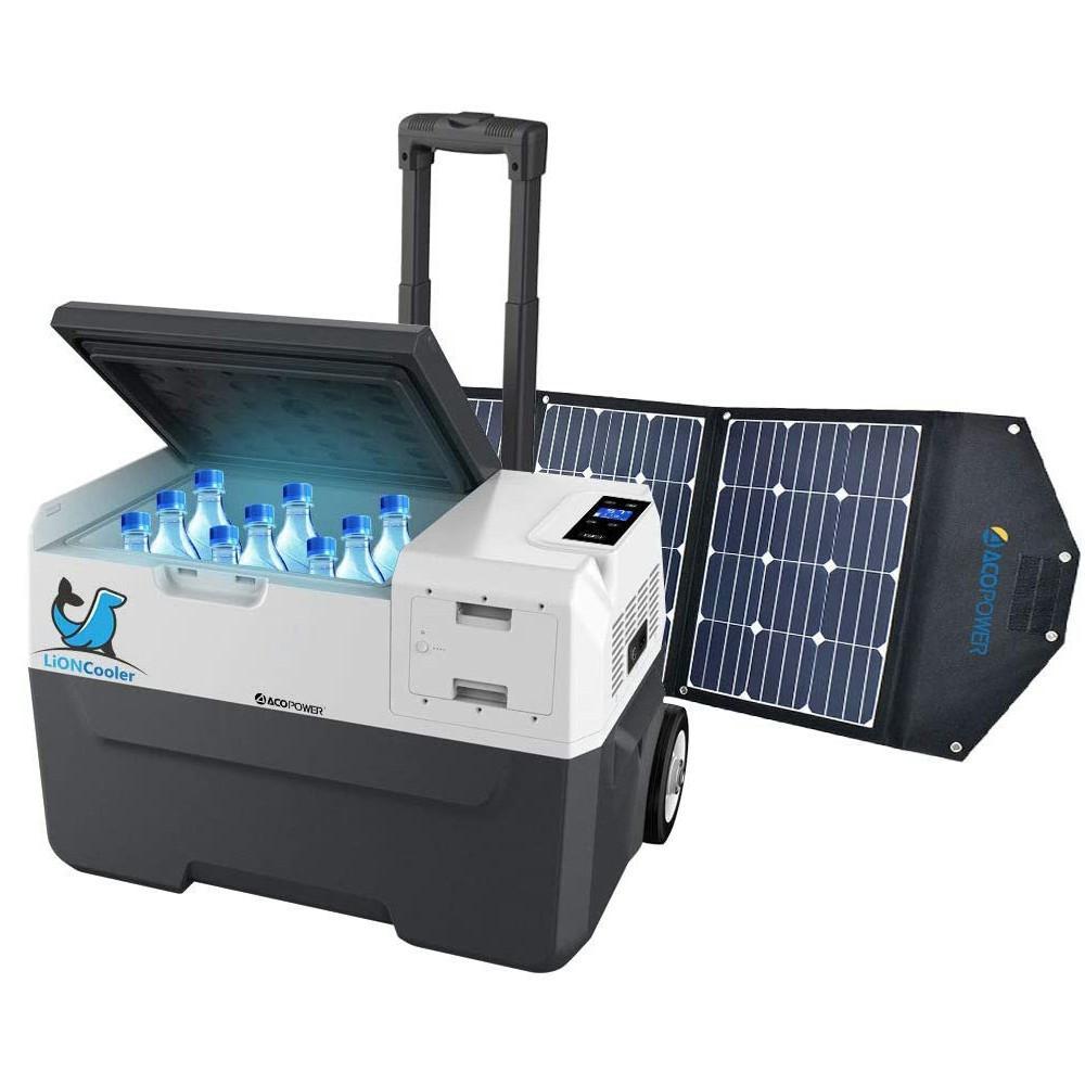 LiONCooler 32 Qt. Battery Powered Portable Chest Fridge Freezer w/10+ Hour Run Time, Recharge Using Solar/DC/AC (with Solar Panel), Black/Gray