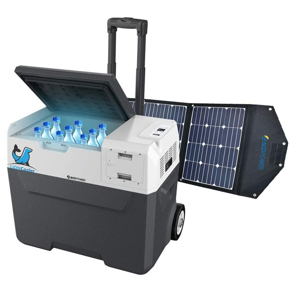 LiONCooler 42 Qt. Battery Powered Portable Chest Fridge Freezer w/10+ Hour Run Time, Recharge Using Solar/DC/AC (with Solar Panel), Gray/Black