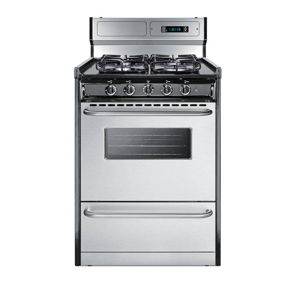 Summit Appliance 24 in. 2.9 cu. ft. Gas Range in Stainless Steel, Silver