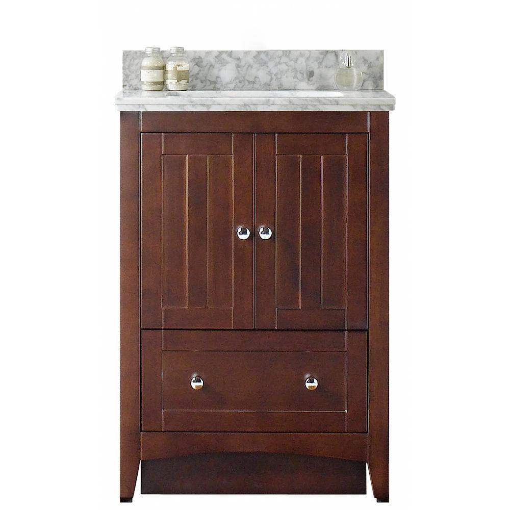 16 GAUGE SINKS 16-Gauge-Sinks 23.75 in. W x 18 in. D Bath Vanity in Walnut with Stone Vanity Top in Gray with Biscuit Basin
