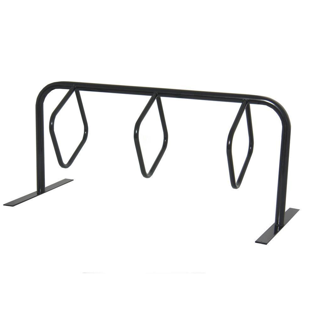 Ultra Play 6 ft, 3-Loop Commercial Surface Mount Hanger Bike Rack, Black