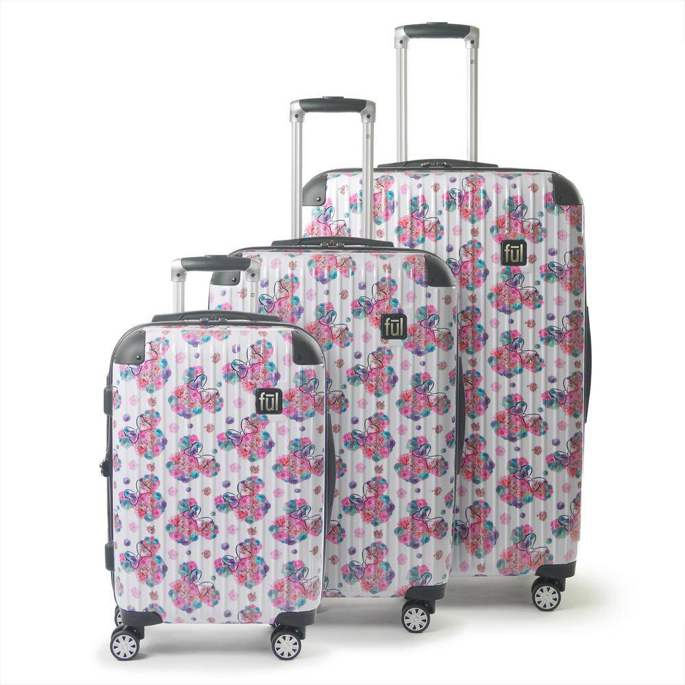 Ful Disney Minnie Mouse Floral 3-Piece 29 in., 25 in. and 21 in. White Hard-Sided Rolling Luggage Set