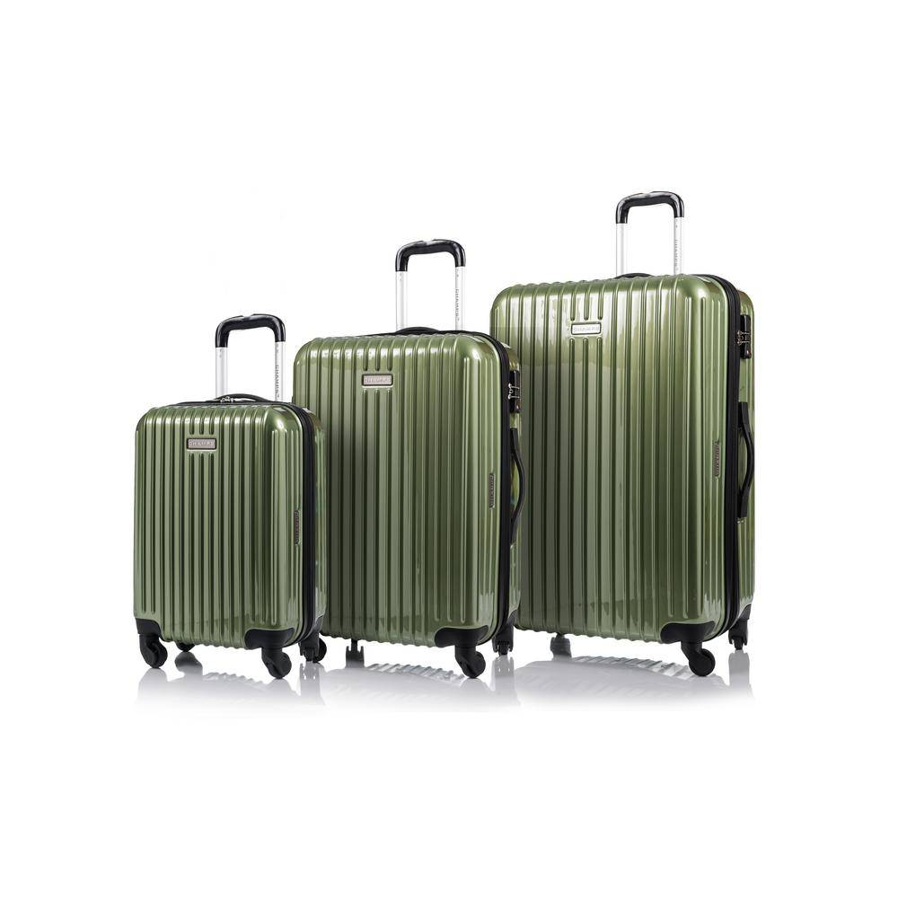 W.C CHAMPS CANADA 2000 I Rome 28 in.,24 in., 20 in. Green Hardside Luggage Set with Spinner Wheels (3-Piece)