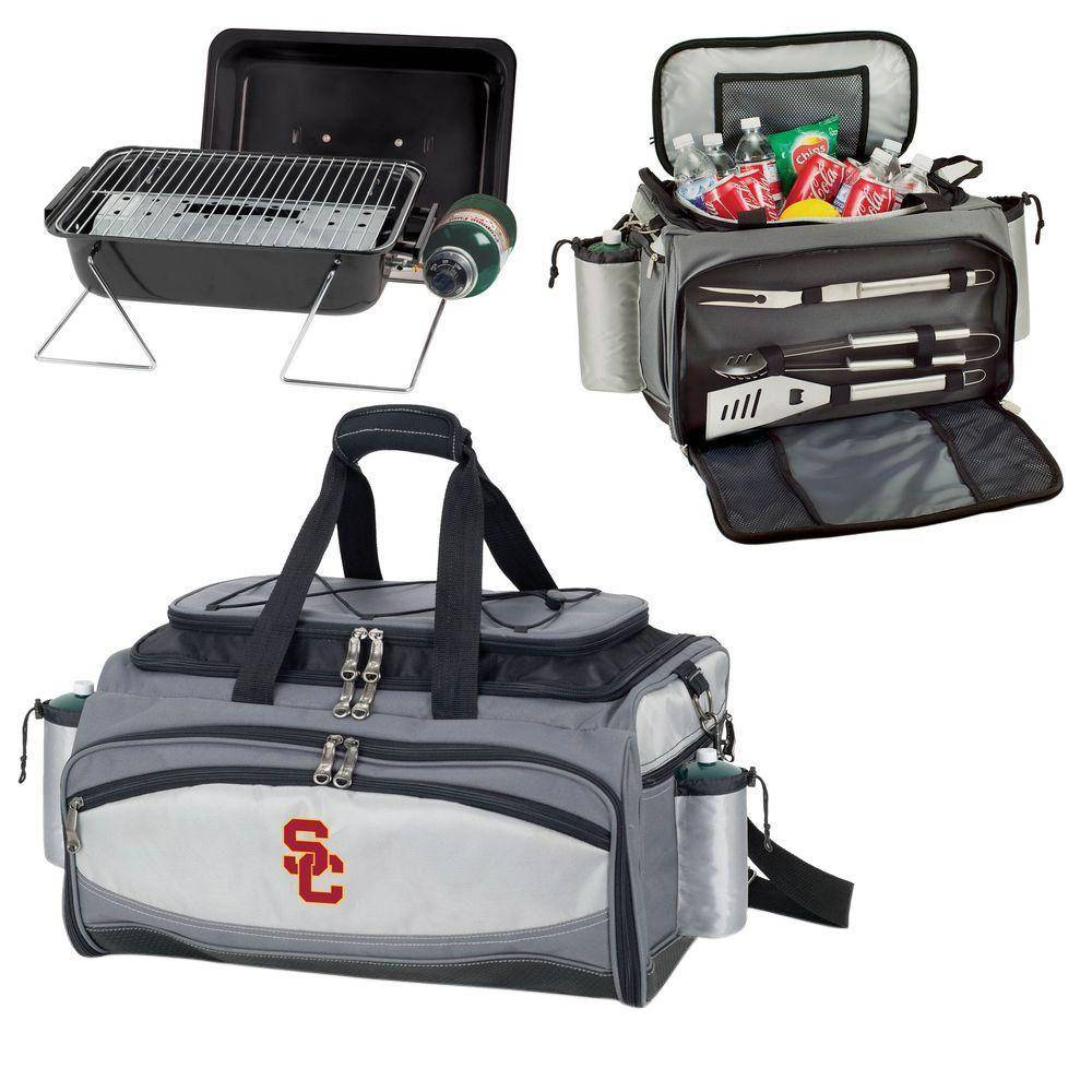 Picnic Time Vulcan USC Tailgating Cooler and Propane Gas Grill Kit with Digital Logo, BLACK/GRAY