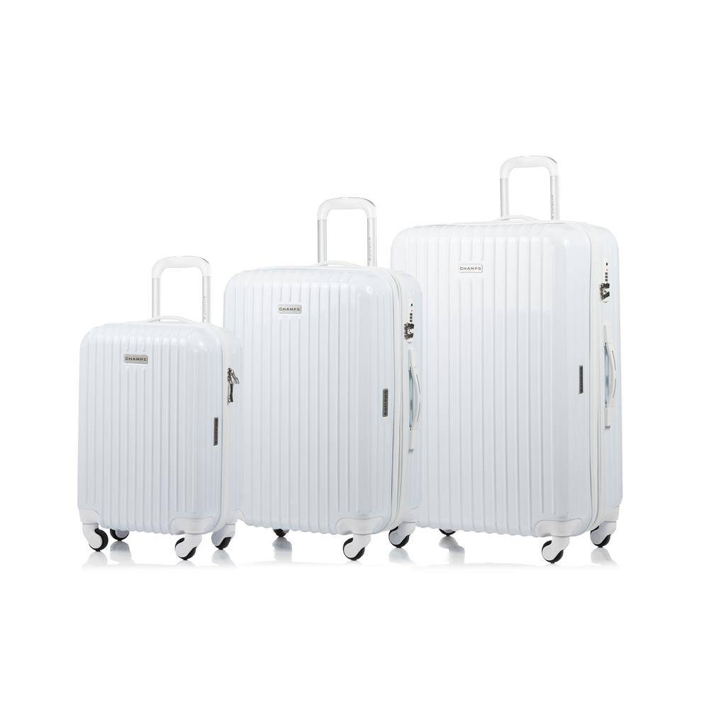 W.C CHAMPS CANADA 2000 I Rome 28 in., 24 in., 20 in. 3-Piece White Hardside Luggage Set with Spinner Wheels
