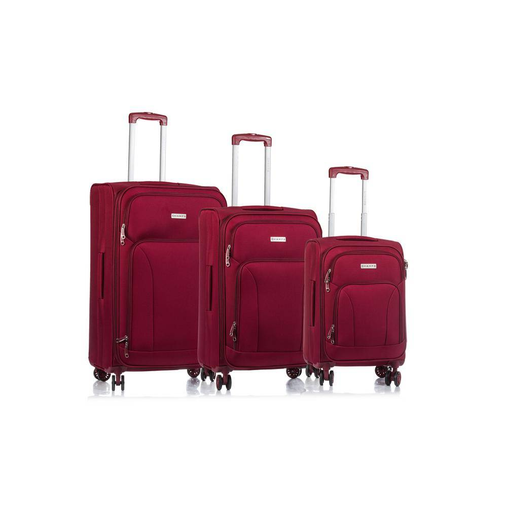 W.C CHAMPS CANADA 2000 I Traveler's 29 in., 25 in., 20 in. 3-Piece Red Soft Side Luggage Set with Spinner Wheels