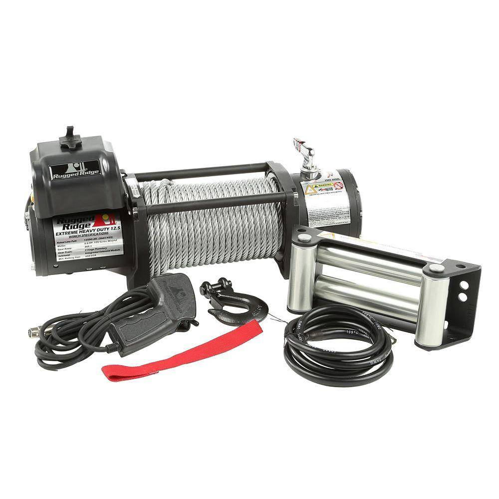 Rugged Ridge 12,500 lb. Spartacus Heavy-Duty Winch with Steel Cable