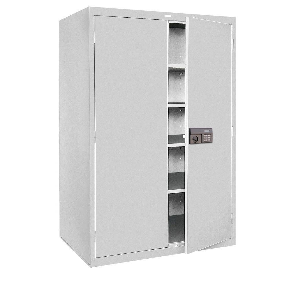 Sandusky 78 in. H x 36 in.W x 24 in. D 5-Shelf Steel Quick Assembly Keyless Electronic Coded Storage Cabinet in Dove Gray