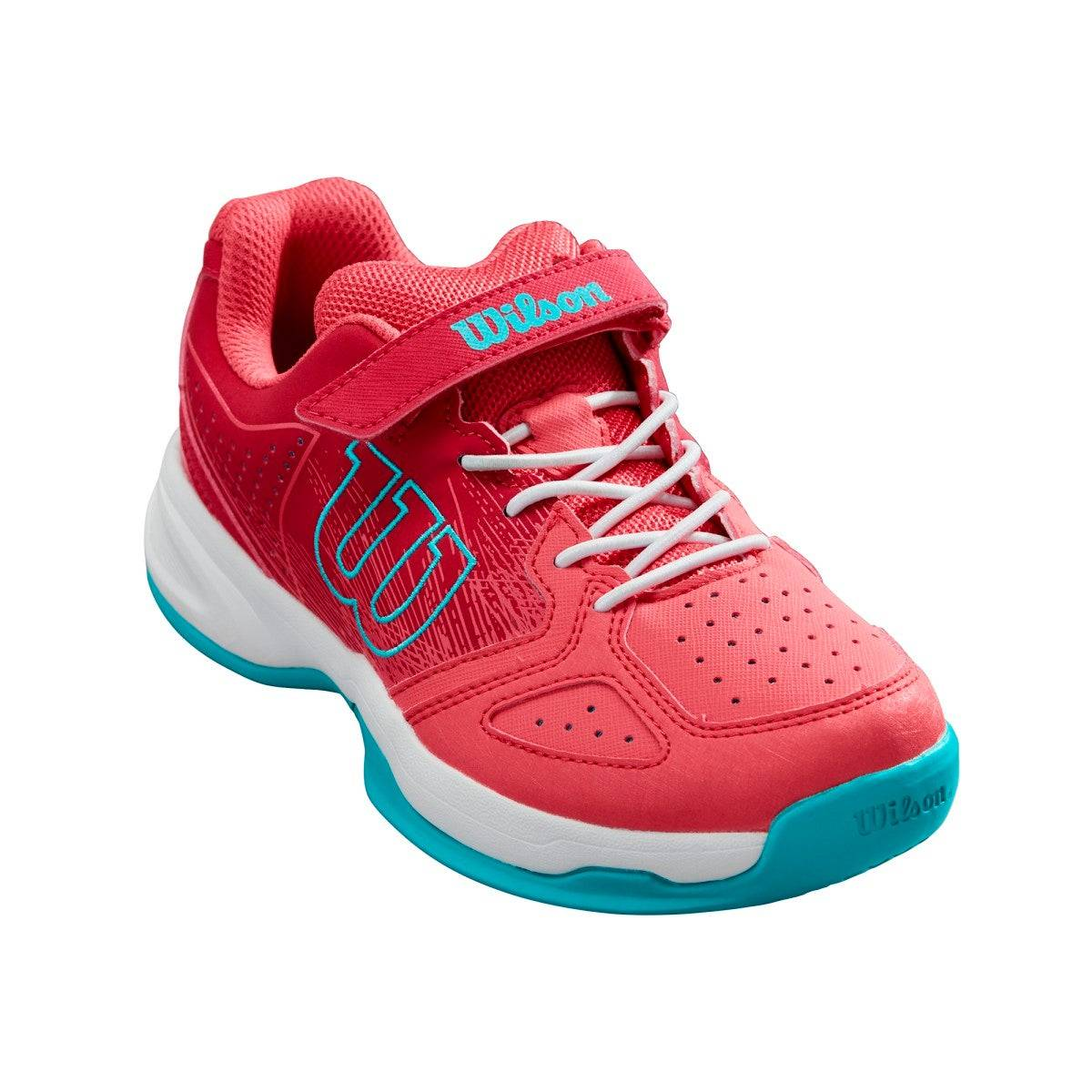 Wilson Junior Kaos K Tennis Shoes in Paradise Pink / White / Peacock Blue - Size: 1 Y  - Unisex - Paradise Pink/White/Peacock Blue - Size: 1 Y