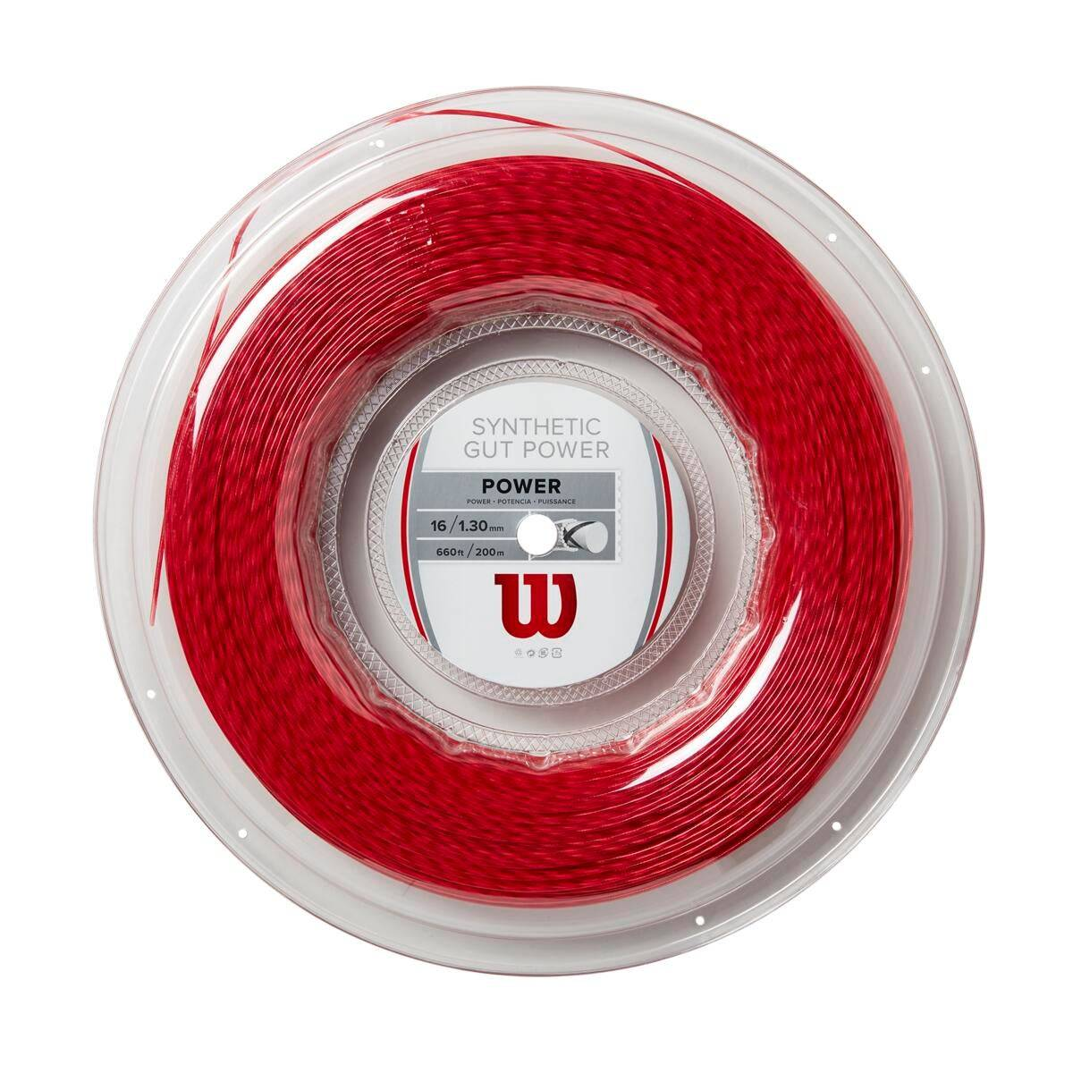 Wilson Synthetic Gut Power Tennis String - Reel in Red, 16 GA (1.30MM)  - Unisex - Red
