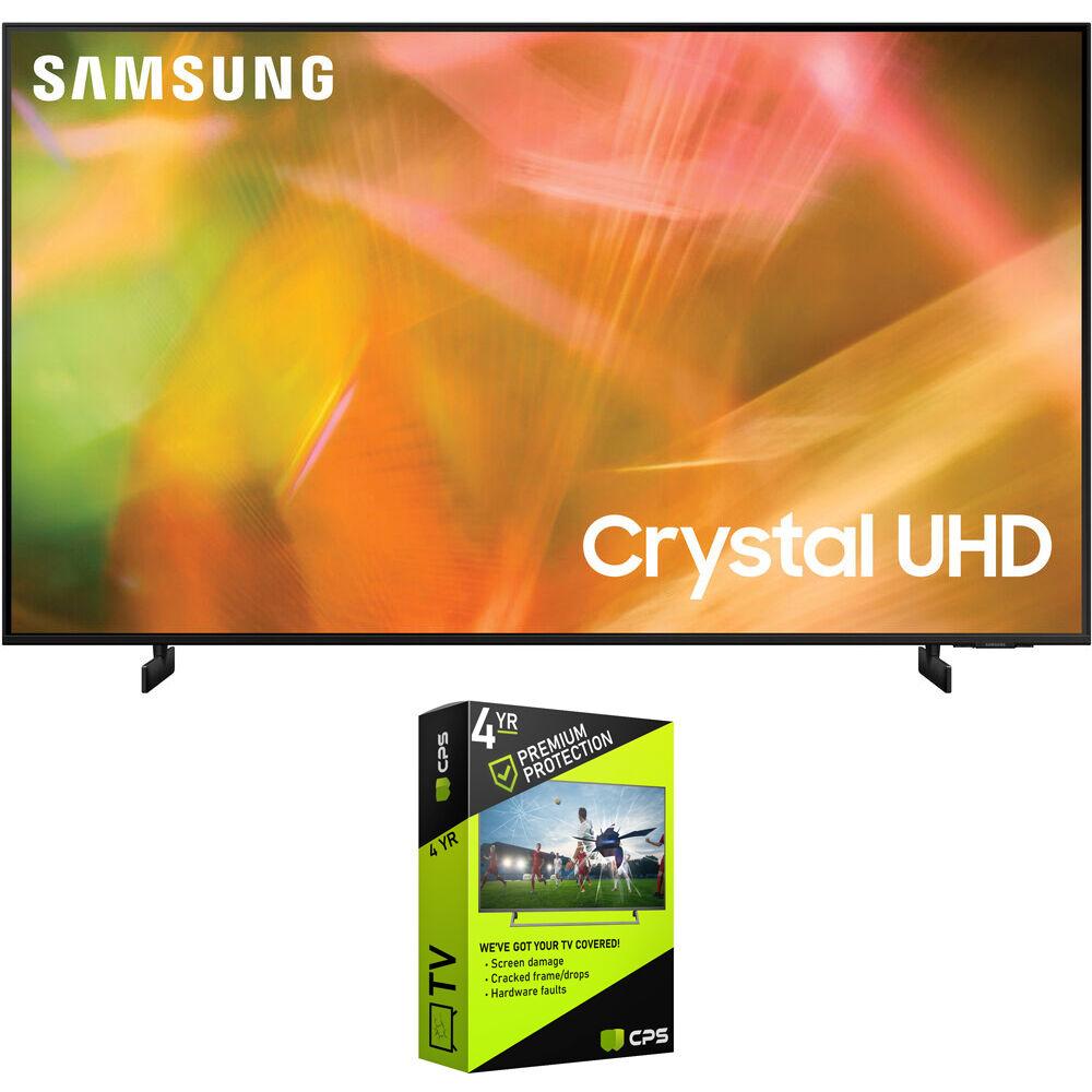 Samsung UN50AU8000 50 Inch 4K Crystal UHD Smart LED TV 2021 + Premium Warranty Bundle