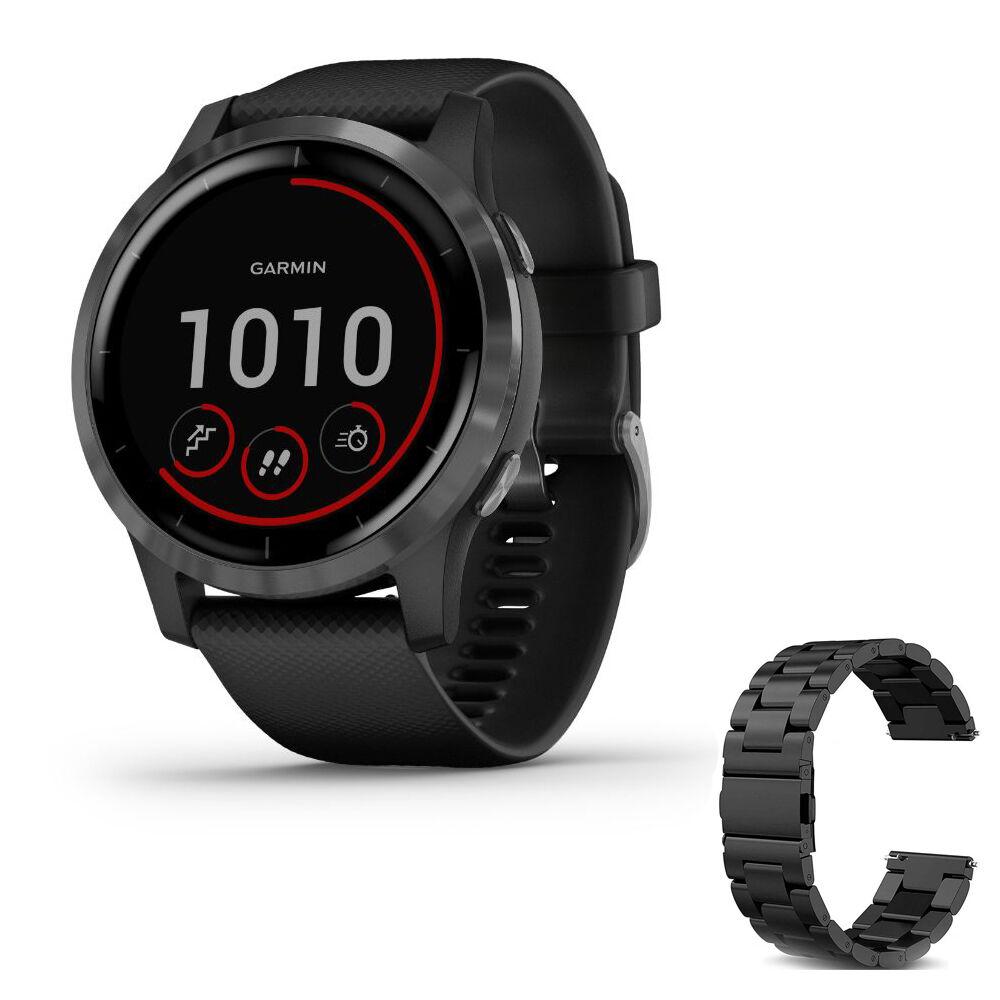 Garmin Vivoactive 4 Smartwatch (Black/Stainless) 010-02174-11 w/ Additional Metal Band