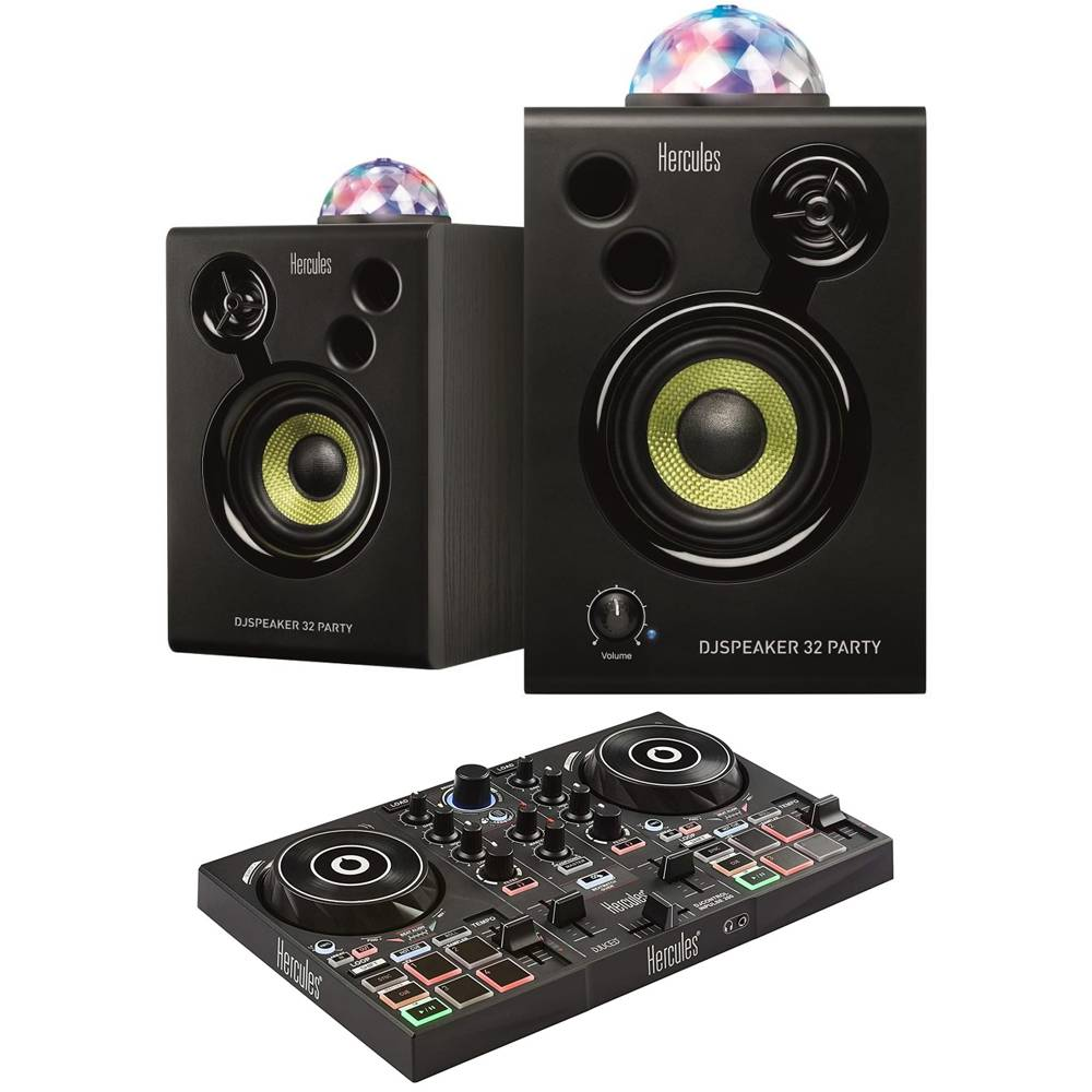 Hercules DJSpeaker Monitor 32 Party Pack w/ Integrated Party Lights + Controller