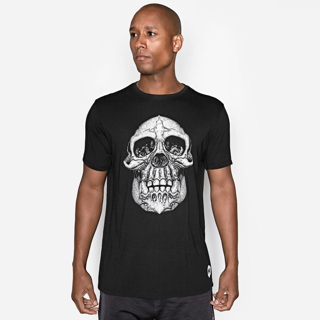 Onnit Chimp Skull Bamboo T-Shirt Black/White - 2XLARGE