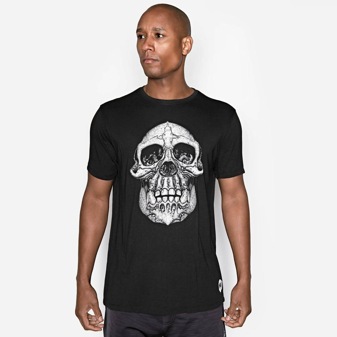 Onnit Chimp Skull Bamboo T-Shirt Black/White - 3XLARGE
