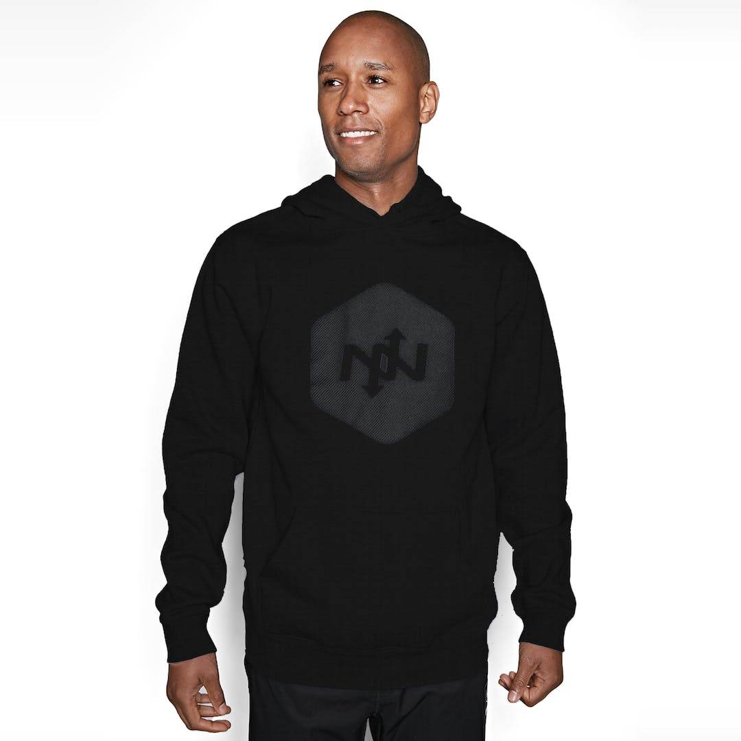 Onnit Hex Contact Pullover Hoodie Black/Charcoal - LARGE