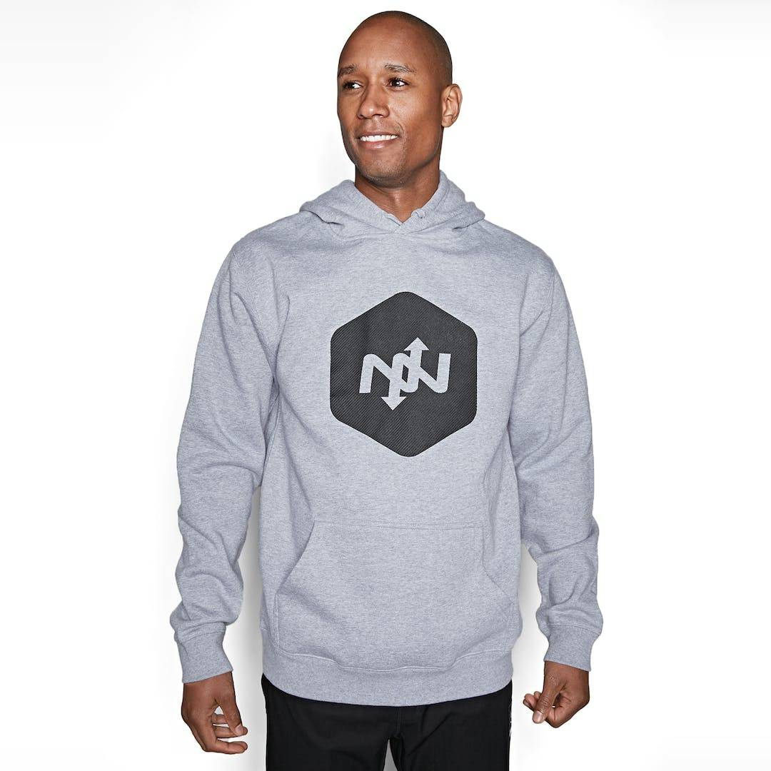 Onnit Hex Contact Pullover Hoodie Gray Heather/Black - LARGE