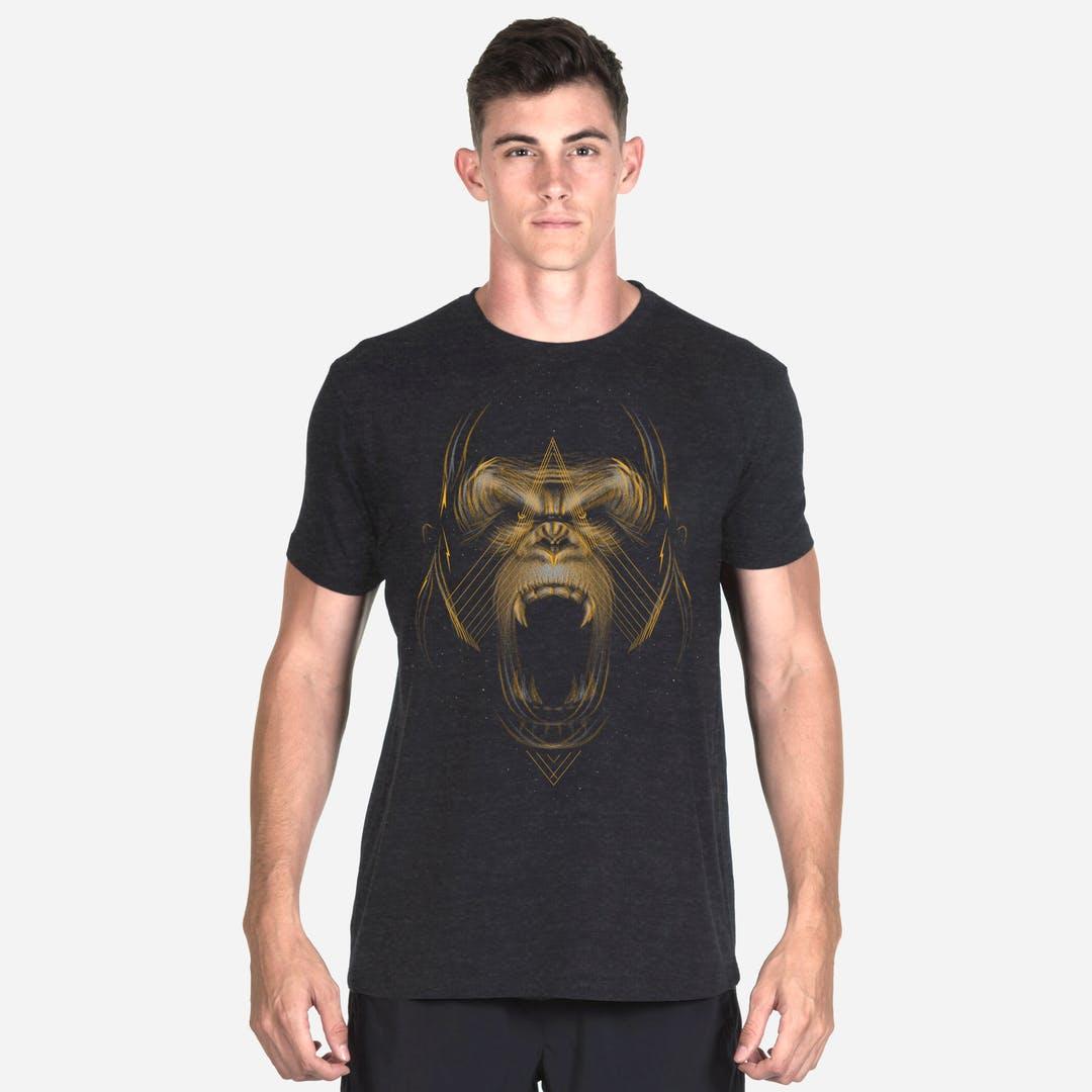 Onnit Golden Gorilla Tri-Blend T-Shirt Black Heather - LARGE