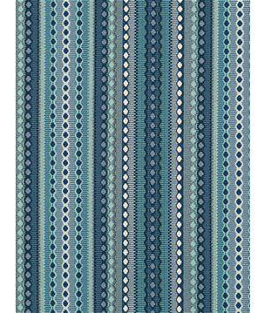 Robert Allen @ Home Jodster Railroaded Backed Ocean Fabric  - blue