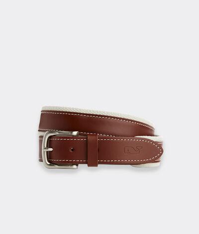 Vineyard Vines Men's Canvas Trim Leather Belt (Tobacco) (Size: 34)