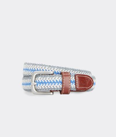 Vineyard Vines Boys' Collegiate Stripe Bungee Belt (Grey) (Size: 30)