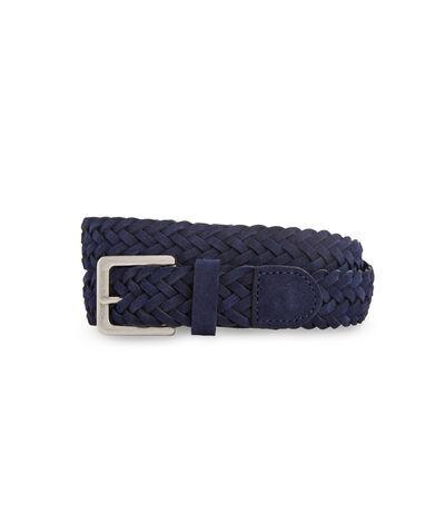 Vineyard Vines Men's Braided Suede Leather Belt (Blue) (Size: 34)