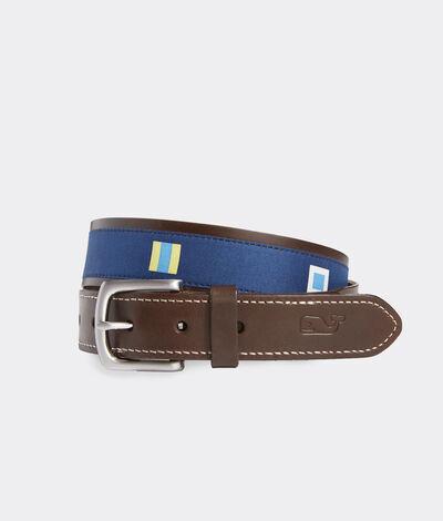 Vineyard Vines Men's EDSFTG Signal Flags Leather Belt (Blue) (Size: 32)