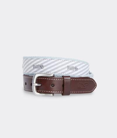 Vineyard Vines Boys' Bonefish & Stripe Canvas Belt (Grey) (Size: 30)