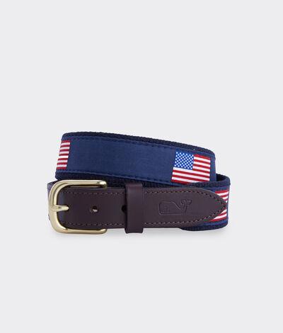 Vineyard Vines Boys' American Flags Canvas Belt (Blue) (Size: 28) (100% Silk)