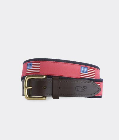 Vineyard Vines Men's American Flags Canvas Belt (Red) (Size: 32)