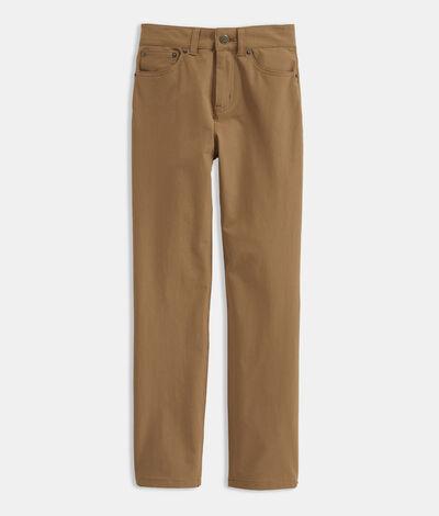 Vineyard Vines Boys' On-The-Go 5-Pocket Pants (Brown) (Size: 7)
