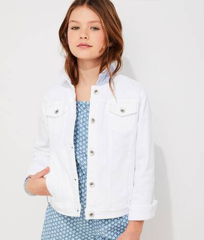 Vineyard Vines Girls' Denim Jacket (White) (Size: XL)