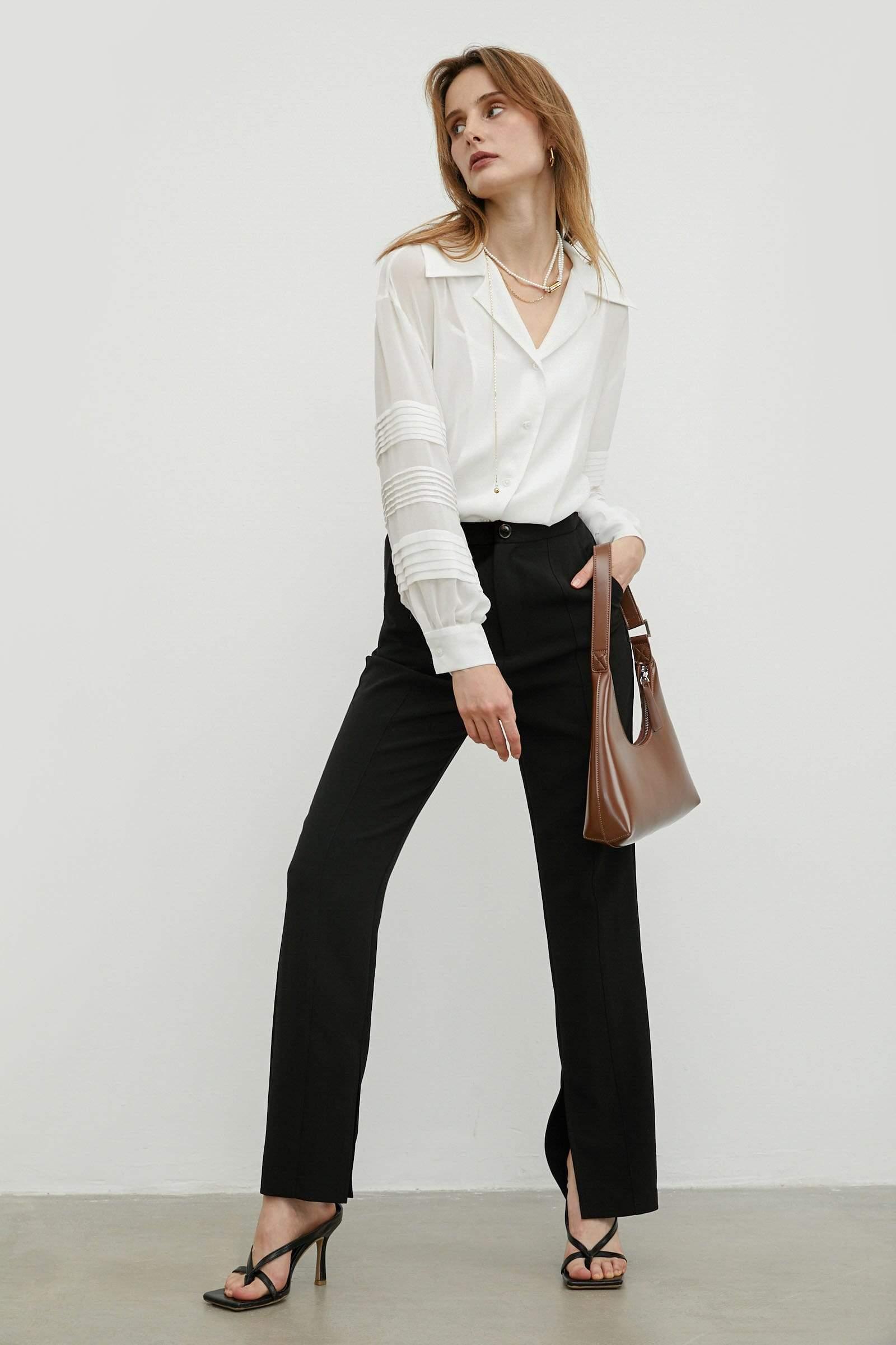 Split Hem Black Trousers