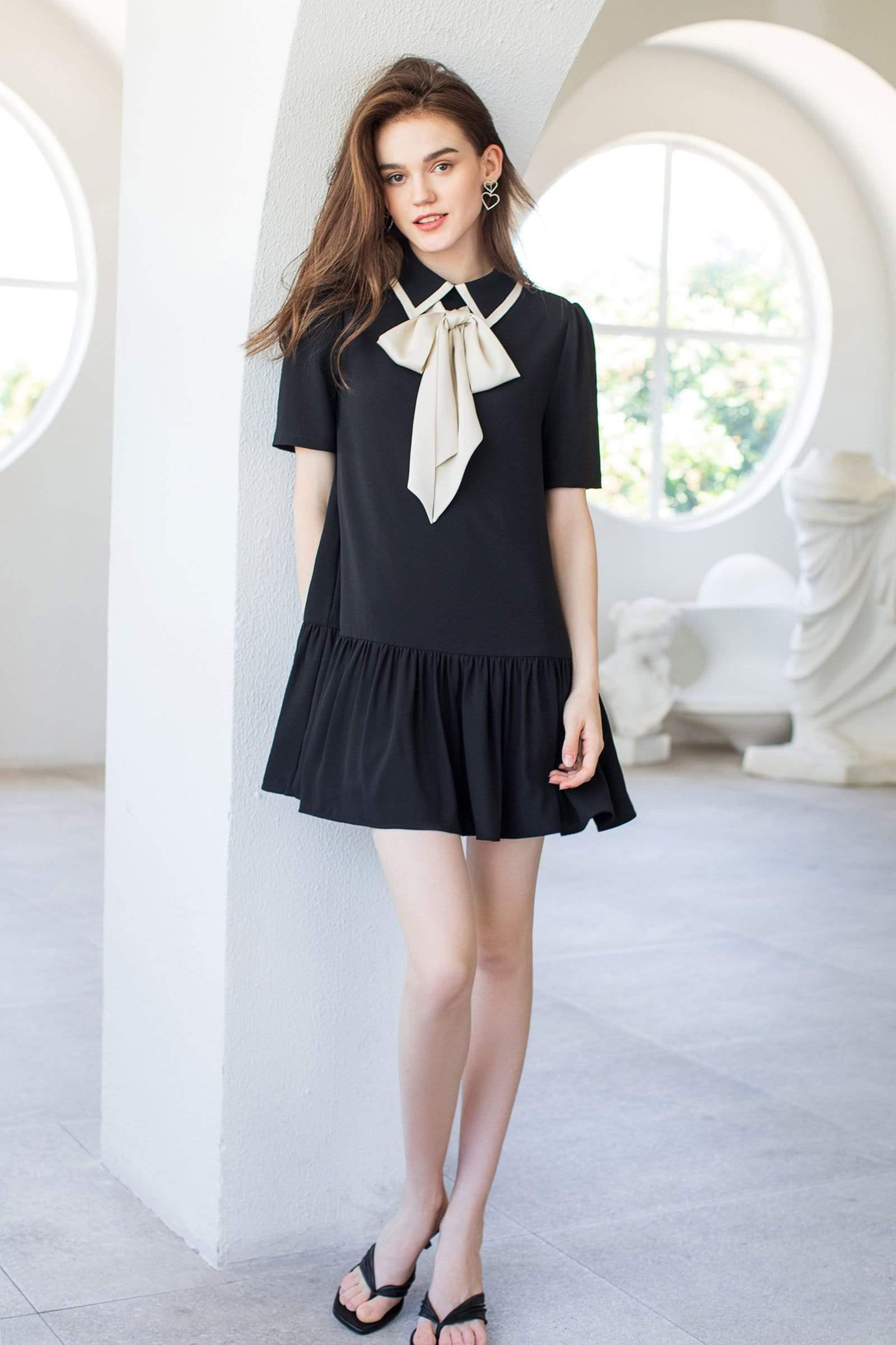 Wednesday Black Bow Dress