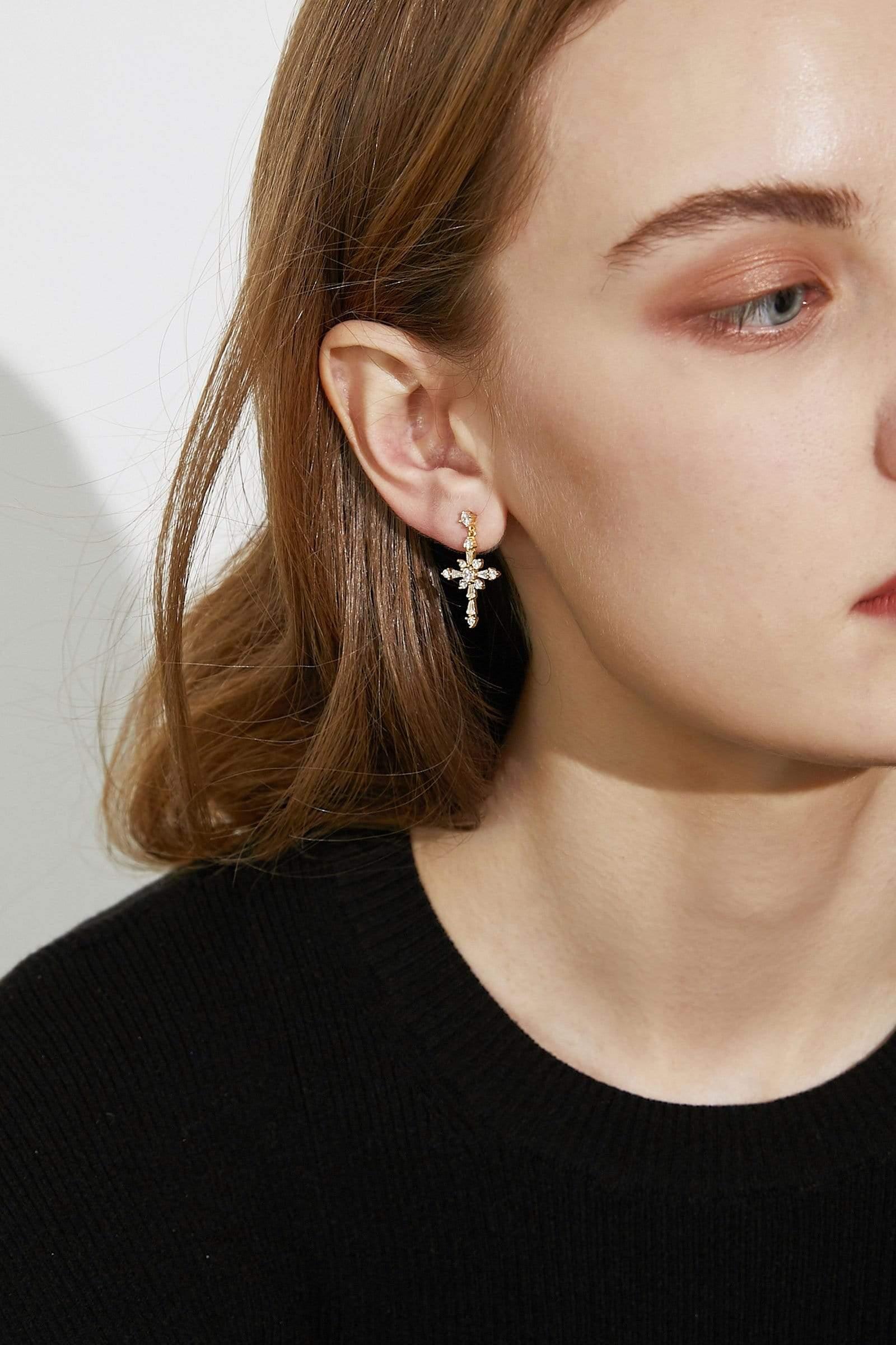 Crystal Crossed Earrings