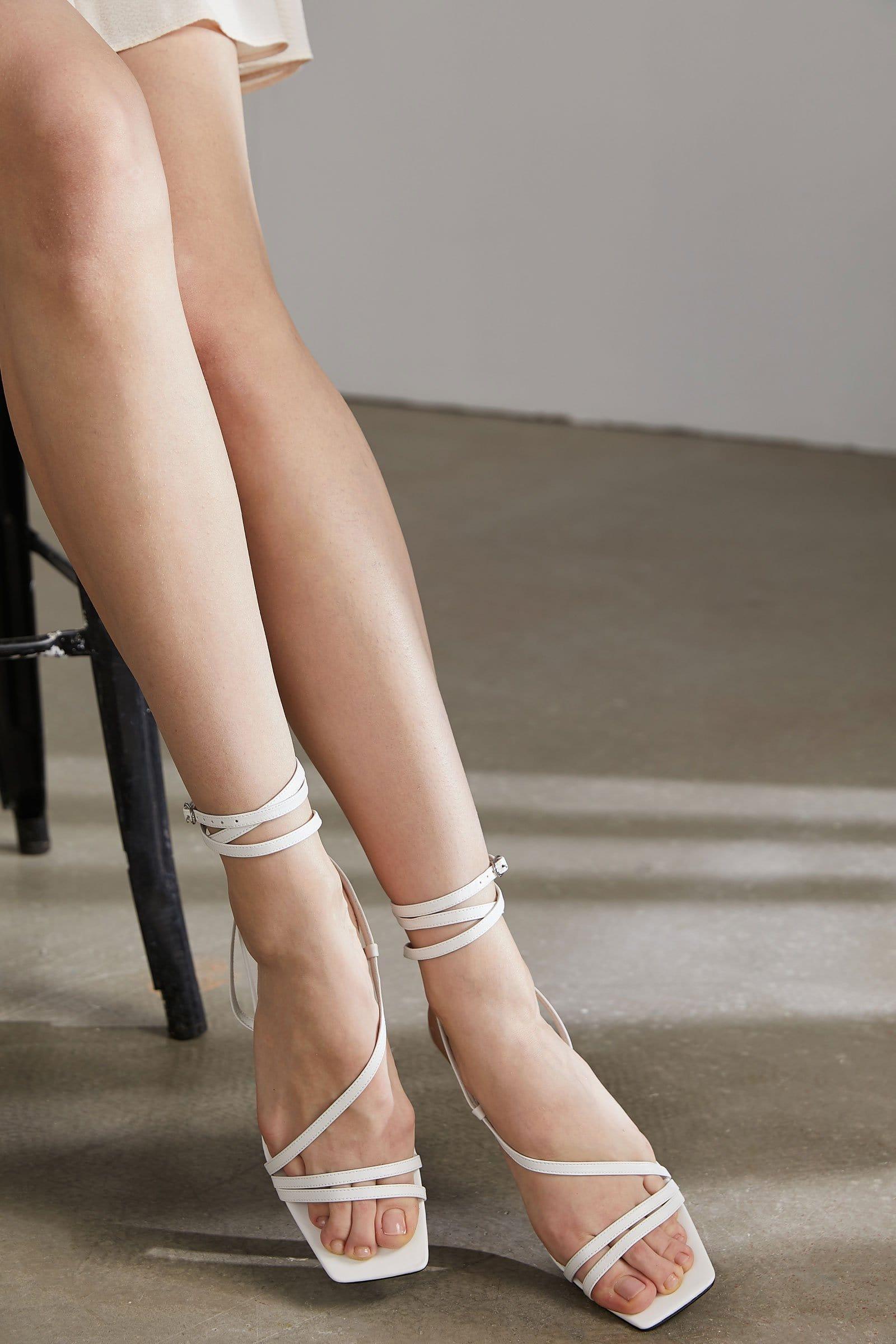 Gallant White Bulbous Heel Sandals