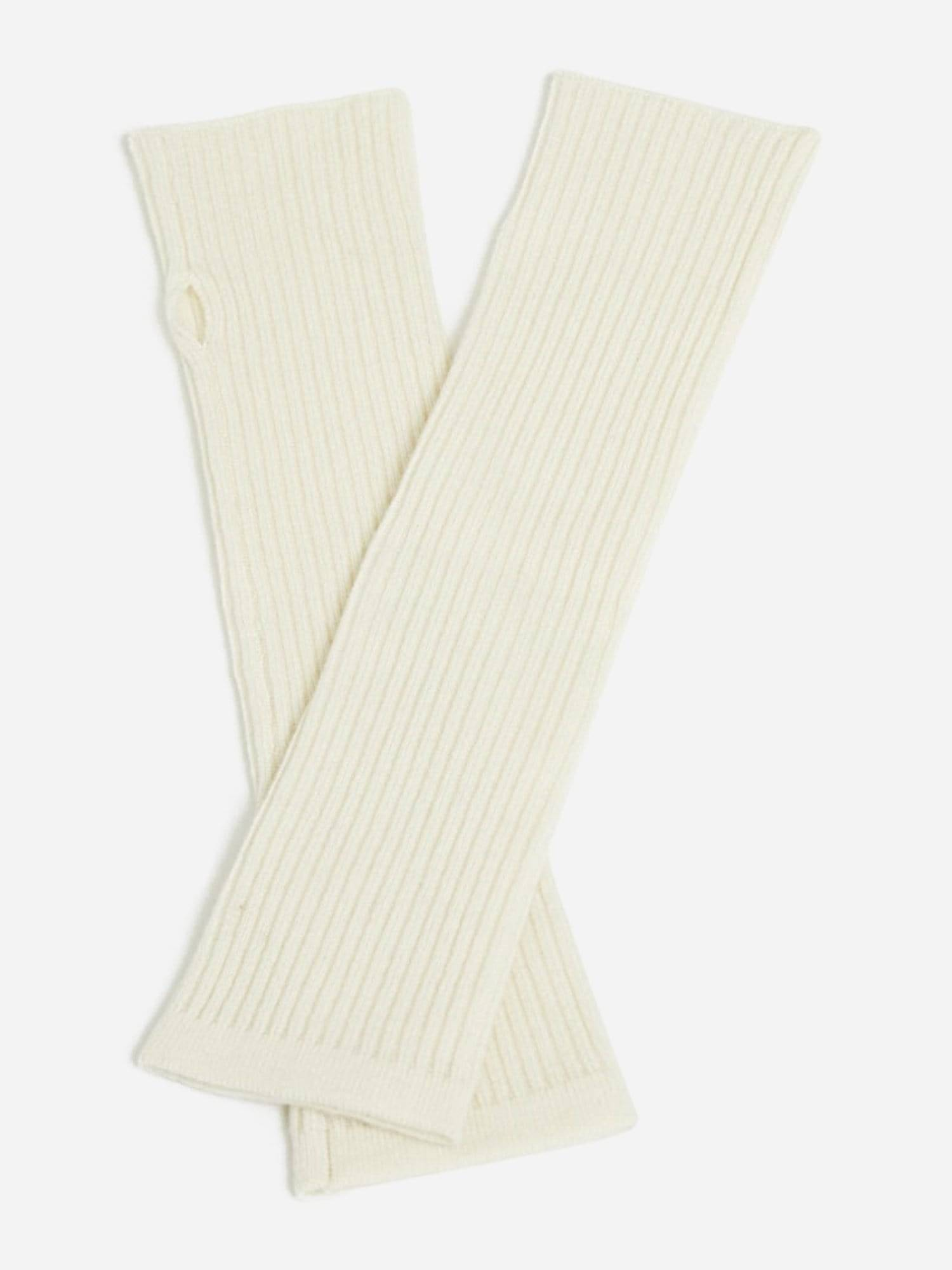 StateCashmere Cashmere Knit Fingerless Arm Warmer Mitten Gloves (Ivory / OS)