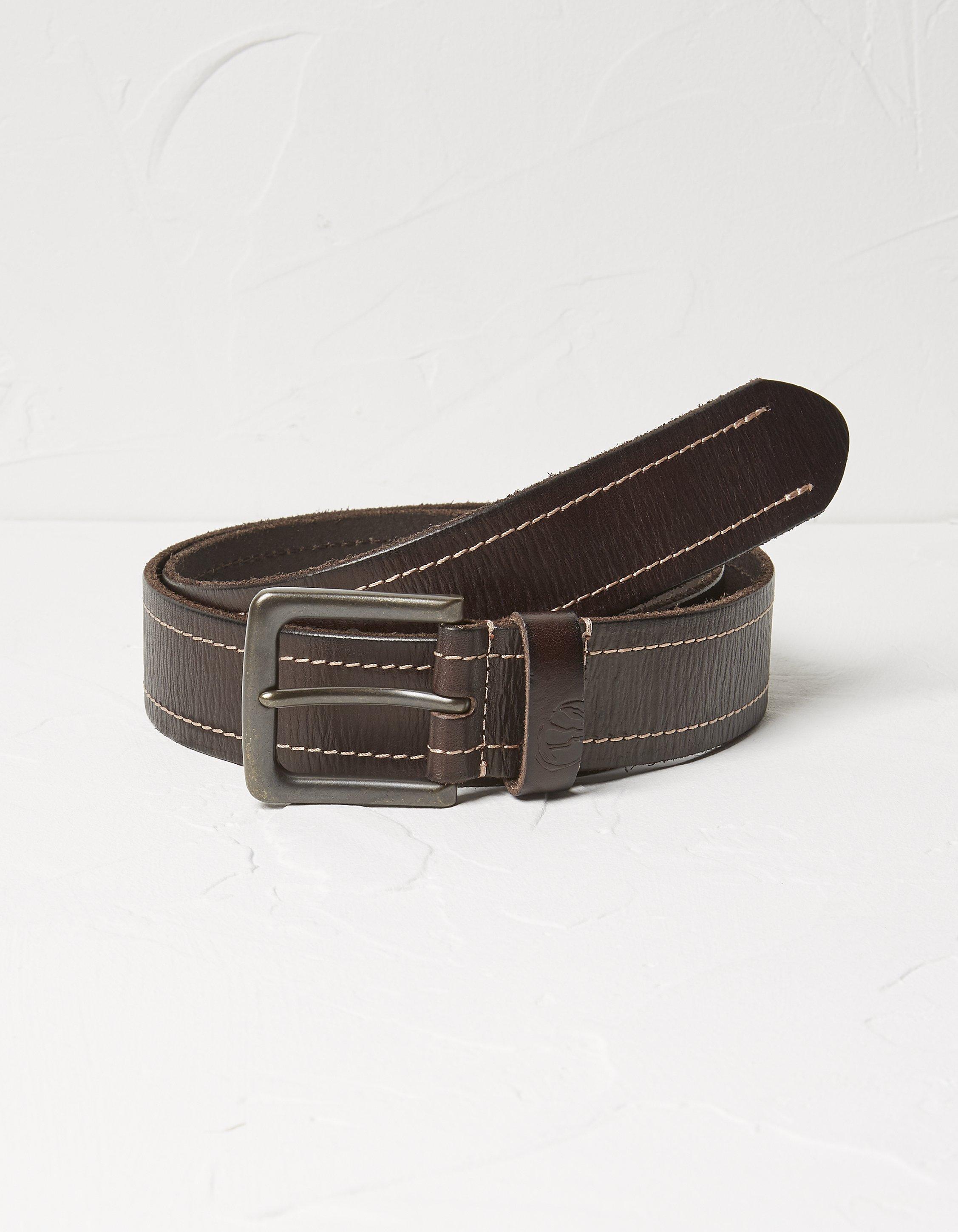 Fat Face Stitch Italian Leather Belt  - Size: Medium