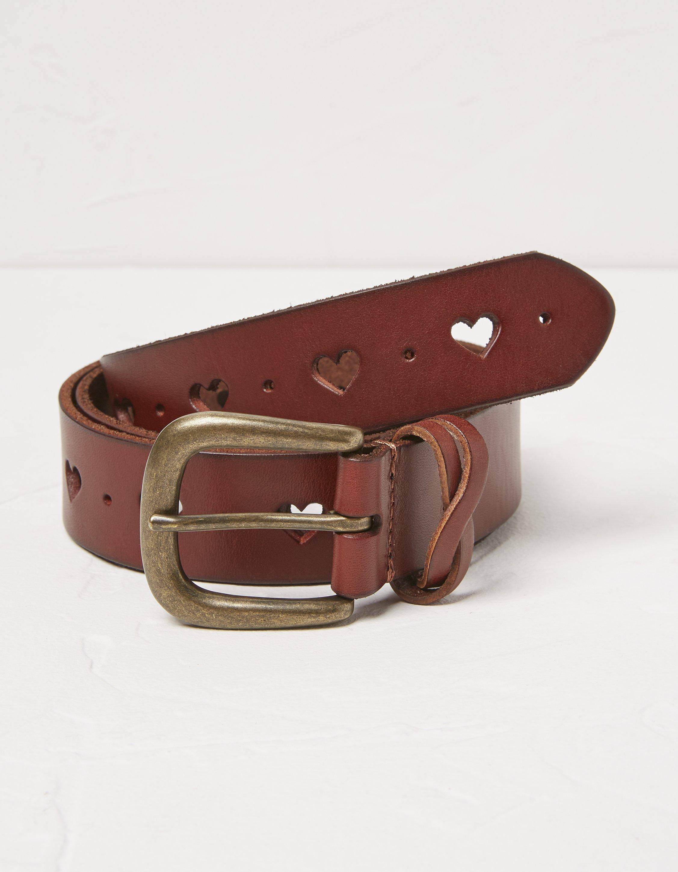Fat Face Heart Cut Out Leather Belt  - Size: Small