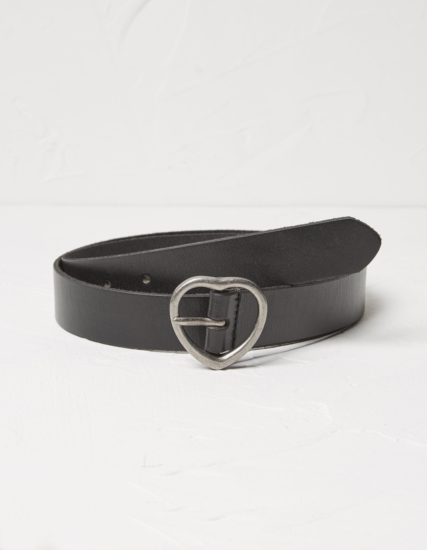 Fat Face Heart Buckle Leather Belt  - Size: Medium